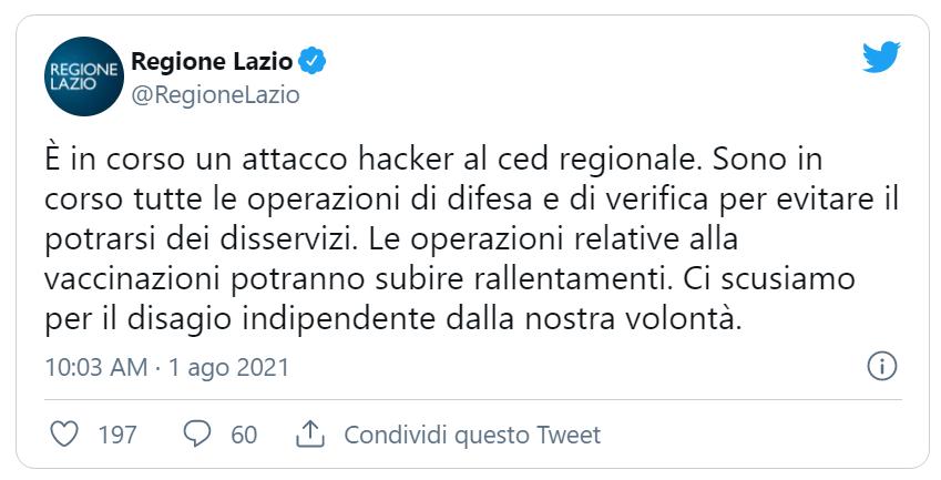 Il tweet della Regione Lazio in cui si informa dell'avvenuto attacco informatico